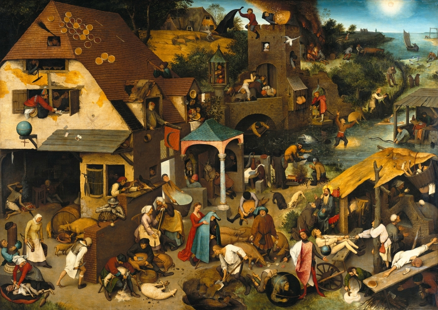 """""""Netherlandish Proverbs"""" – 1559 – Painting by Pieter Bruegel : A Masterpiece Filled WithMessages."""